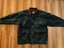 Vintage Bay Area Traders Denim With Leather Collar Winter Coat Jacket ~ Size XL