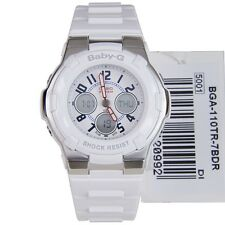 *NEW* CASIO LADIES BABY G SHOCK WHITE ALARM COMBI WATCH BGA110TR-7BER RRP £129