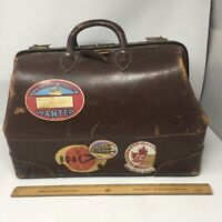 Vintage Doctor Bag Brown Leather Lion Brand Made In Canada Travel Cowhide