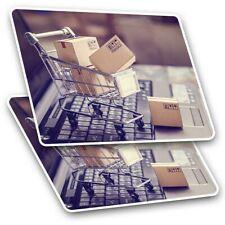 2 x rectangle autocollants 10 cm-Online Shopping chariot drôle #21966