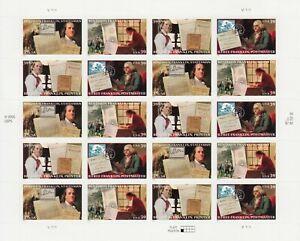 BENJAMIN FRANKLIN STAMP SHEET -- USA #4021-#4024 29 CENT