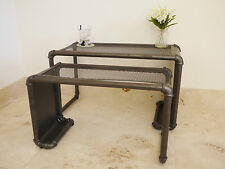 INDUSTRIAL SET OF 2 TABLES SIDE SIDE TABLE METAL STAND ROOM CONSERVATORY BAR