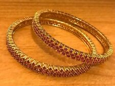 14K Yellow Gold Plated SS 3 rows PINK RUBY Eternity Bangle Bracelet SET of Two