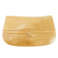Gucci Clutch Bag Horsebit Beige Leather Used Auth T10129