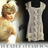 TOPSHOP LACE DRESS 8 6 36 34 US 4 6 2 CROCHET VINTAGE FLAPPER 20s BOHO WEDDING