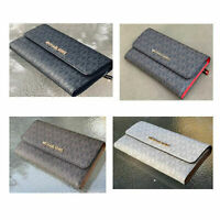 Michael Kors Jet Set Travel PVC Carryall Large Trifold Wallet Brown Black Vanill