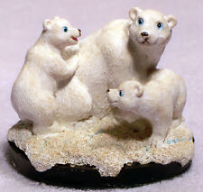 Blue Eyed Mother With 2 Cubs - Polar Bears in Their Environment Figurine