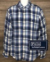 Polo Ralph Lauren Men's 100% Linen Blue Plaid Long Sleeve Button Front Shirt L