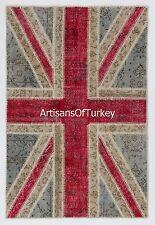 Union Jack British Flag PATCHWORK RUG made from OVERDYED Vintage Turkish Carpets