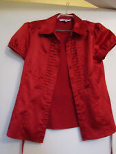 Debenhams Petite Shiny Red Cap Sleeve Fitted Shirt in Size 10