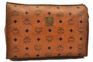 Authentic MCM Cognac Visetos Leather Vintage Clutch Hand Bag Brown 0513A