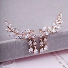Fashion Women Gold Silver Crystal Zircon Leaves Tassel Ear Stud Earrings Jewelry