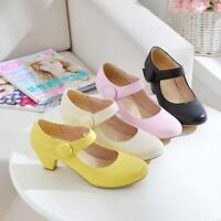 Cute New Womens Round Toe Mary Janes Pumps Low Block Heels Lolita Shoes Dress Sz