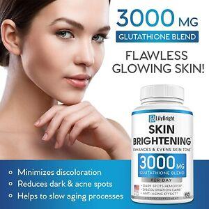 Glutathione Skin Whitening Pills - 3000mg  Anti Aging Liver Cleanse Antioxidant