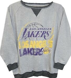 Los Angeles Lakers NBA Majestic Long Sleeve Gray Raglan Sweatshirt Youth Sizes