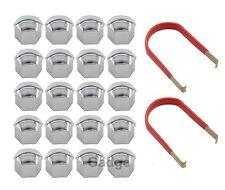 20Pcs 17mm Chrome Wheel Lug Nut Bolt Cover Caps Removal Tool For VW SKODA AUDI