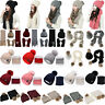 2/3Pcs Set Women Pom Pom Beanie Hat and Scarf Neck Winter Casual Thermal Ski Cap