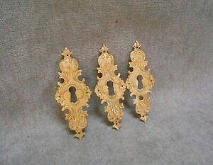 3 French vintage repousse BRASS ROCOCO Key Hole Covers