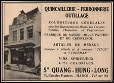 1930  --  INDOCHINE  HANOI  QUICAILLERIE FERRONNERIE QUANG HUNG LONG   3R455