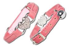 Cat Collar Coller Collor Rhinestone Diamante Safety Elastic Bell Purple Heart UK