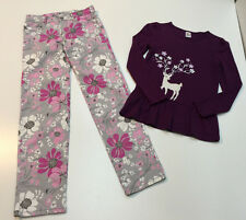 Gymboree Girl Outfit Cotton Pants & Sequin Embroidered Long Sleeves Top Size 10