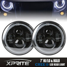 Round 90W Philips LED Headlights With Halo Angel Eyes For 97-17 Jeep Wrangler