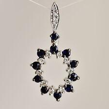 Natural Sapphire Pendant Genuine Diamonds 9k 375 White Gold Gift Boxed