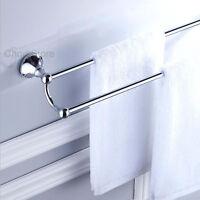 Modern Bathroom Double Rail Towel Bar Wall Mounted Shower Bath Rack Holder Shelf