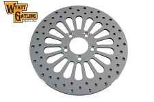 """Polished stainless steel Rear 11-1/2"""" brake disc with 18-spoke design"""