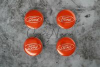 4x Ford Orange Alloy Wheel Centre Hub Caps Badges Emblem FITS MOST 54MM