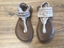 Sanuk Brown Tan Stripe YOGA Mat SLING SLIP ON Sandals Womens Size 6