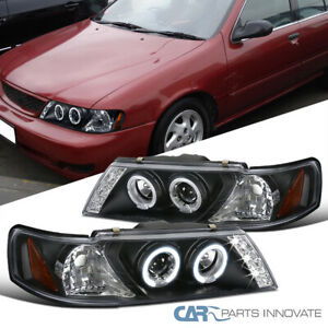 For 95-99 Nissan Sentra 200SX Black LED Halo Projector Headlights Head Lamps L+R