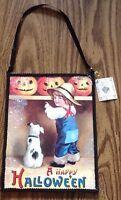 Vintage Look Halloween 2 Sided Wall Sign Bethany Boy Dog Pumpkin Jack Farm Decor