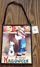 Vintage Look Halloween 2 Sided Sign By Bethany Boy Dog Pumpkin Glittery Jack New