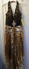 Cinderella Divine Gold/Black Beaded Halter Dress/Gown Sz 8;Occasion Holiday/ NWT