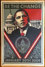 """Shepard Fairey """"Be the Change"""" Barack Obama Inauguration Lithograph Poster Art"""