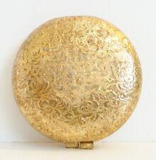 Revlon Love Pat Goldtone Powder Compact Full Creamy Ivory Framed Mirror Puff