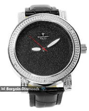 mens big silver tone business clubbing CZ watch black dial leather strap maxx
