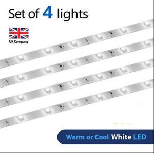 4 x Plug In LED Under Kitchen Cupboard Cabinet Link Strip Lights Lighting UK