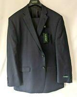 Lauren By Ralph Lauren Mens 100% Wool Navy 2 Piece Suit Set New 48 Reg 43W