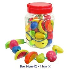 Fun Factory Childrens Wooden Lacing Threading Toy Fruit in Jar - 34 PCE