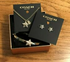 COACH Pave PYRAMID Star NECKLACE, Bracelet, EARRING Jewelry SET VGC