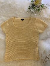Talbots Yellow Open Knit Short Sleeve Sweater Size MP New