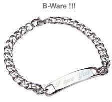 B-WARE !! Namensarmband mit Gravur 20cm lang Panzerarmband ID Edelstahl Armband