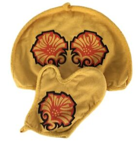 Vintage Dri-Glo Tea Cosy Pot Cover (Large) and Oven Glove Set Retro Flower Power