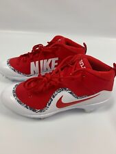 NEW Nike 11 Red White Metal Cleats Sneakers Sports Logo