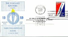 1958  AIR MAIL 10 CENT PAN AMERICAN SPECIAL CACHET MACHINE ADDRESSED FDC