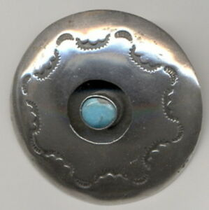 Signed Shadow Box Sterling Silver and Turquoise Pendant with Interesting Tooling