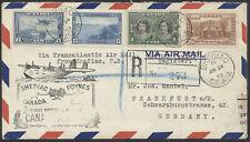 1939 Pan-Am Flight, Shediac to Southampton, Registered, Onward to Germany