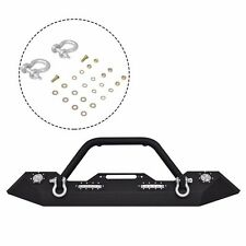 Front Bumper For 2007-2016 Jeep Wrangler JK Winch Plate & Built-In Led Lights